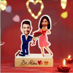 Personalised Proposal Caricature with Wooden Stand
