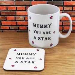 Personalised Mummy Star Mug & Coaster Set