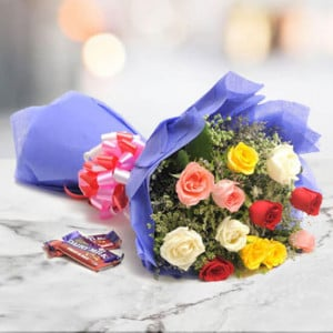 Sweet Mix Roses 12 mix roses with 2 fruit n nut chocolate - online flowers delivery in dera bassi