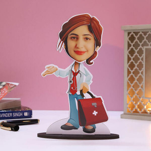 Customised Lady Doctor Caricature - Personalised Caricatures Online