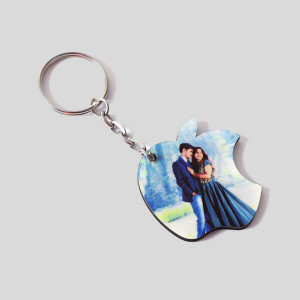 Personalised Apple Shaped Key Chain - Personalised Key Chains Online