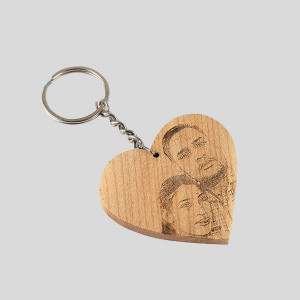 Engraved Heart Shape Key Chain - Personalised Photo Gifts Online