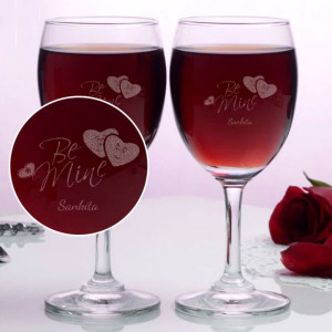 Personalized Be Mine Wine Glasses