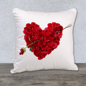 Velvety Red Roses Heart Cushion