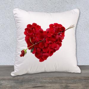 Velvety Red Roses Heart Cushion