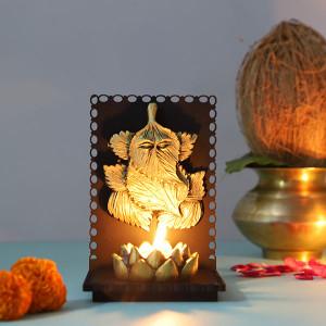 Leaf Ganesha T Light Holder