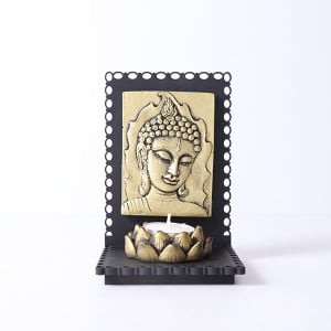 Lord Buddha Idol With Wooden Base And T Light Holder