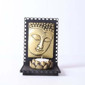 Lord Buddha With Wooden Base And T Light Holder