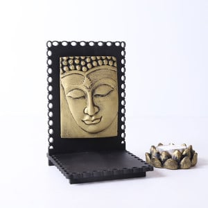 Buddha Idol With Wooden Base And T Light Holder