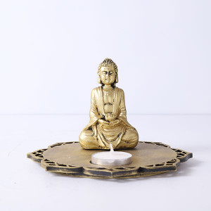 Meditating Buddha With Decorative Wooden Tray Base And T Light