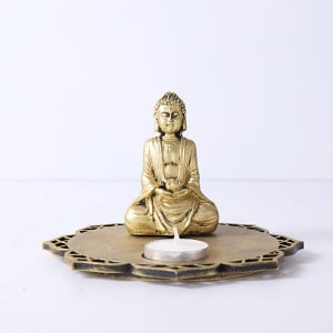 Meditating Buddha With Decorative Wooden Tray Base And T Light - Online Home Decor Items