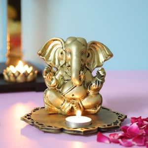 Siddhi Ganesha With Decorative Wooden Tray And T Light - Send Candles Online
