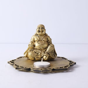 Laughing Buddha In A Wooden Tray