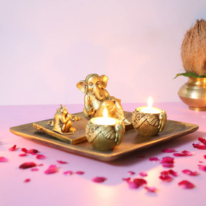 Relaxing Lord Ganesha With Rat - Online Home Decor Items