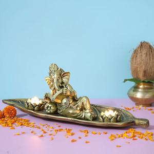 Relaxing Ganesha T Light Holder - Online Home Decor Items