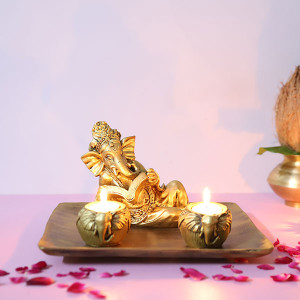 Reading Ganesha T Light Holder - Online Home Decor Items