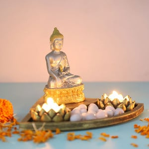 Elegant Buddha In A Decorated Tray - Online Gift Ideas