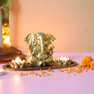 Ganesh Ji T Light Holder In An Oval Shape Tray - Online Gift Ideas