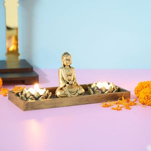 Meditating Buddha With T Light Holder