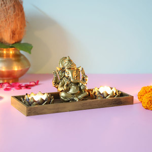 Ganpati With T Light Holde - Online Gift Ideas