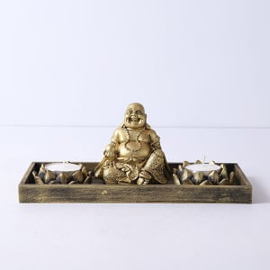 Laughing Buddha With T Light Holder