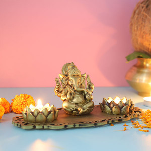 Ganpati Decorative T Light Holder - Online Gift Ideas