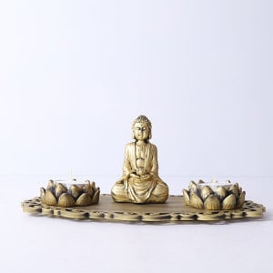 Meditating Buddha With Lotus Shape T Light Holder