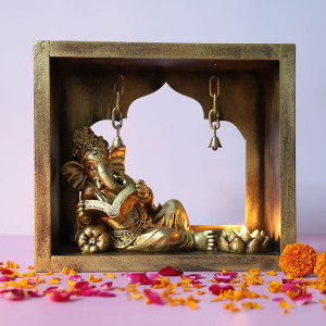 Decorative Reading Ganesha In Mandir - Online Gift Ideas