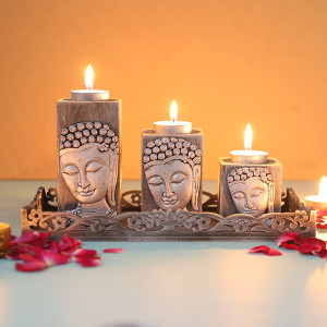 Set Of 3 Antique Silver Finish Buddha - Online Home Decor Items