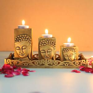 Set Of 3 Antique Gold Finish Buddha - Online Home Decor Items