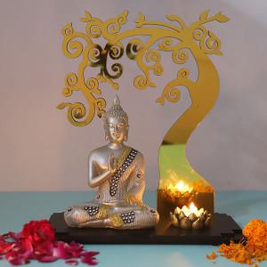 Preaching Buddha Below Divine Tree - Online Home Decor Items