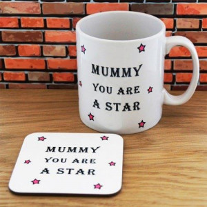 Personalised Mummy Star Mug & Coaster Set