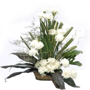 Cool Classic 20 White Carnations - Flower Basket Arrangements Online