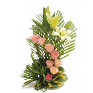 Spring Garden 10 Lilies - Flower Basket Arrangements Online