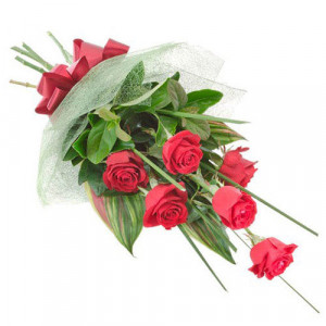 Love U Softy 6 Red Roses - Kiss Day Gifts Online