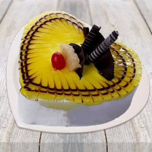 Lovely Pineapple Heart Shape Cake - Cake Delivery in Mumbai