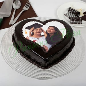 Heart Shaped Mothers Day Photo Cake Eggless