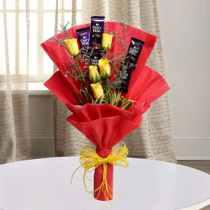Roses with Cadbury - online flowers delivery in dera bassi