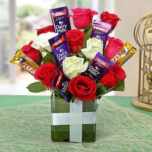 Supreme Choco Flower Arrangement - online flowers delivery in dera bassi
