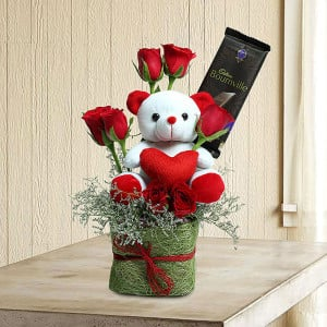 Teddy Among Roses - Send Valentine Gifts for Her