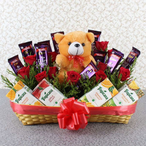 Healthy Choice Basket - Teddy Day Gifts Online