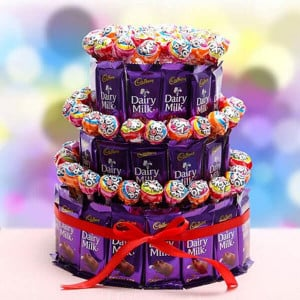 3 Tier Choco Pop Cake - Chocolate Bouquet Online