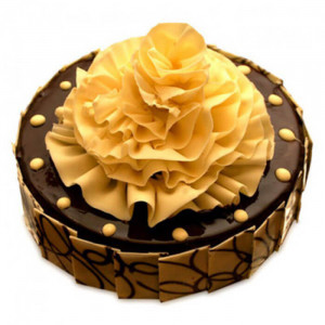 Flower on Chocolate Truffle Cake