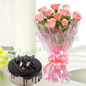 10 Pink Roses n Chocolate Cake Combo - Send Cakes to Sonipat