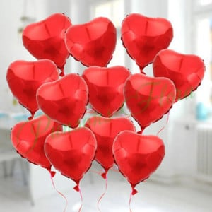 12 Lovely Heart Shape Balloons - online flowers delivery in dera bassi