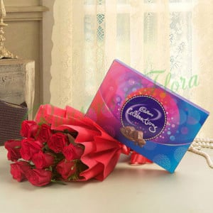 8 Red Roses With Cadbury Celebration - online flowers delivery in dera bassi