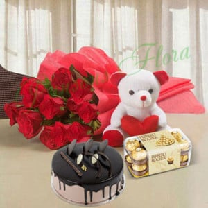 Beautiful Red Rose Hamper Eggless Premium - Birthday Gifts for Her