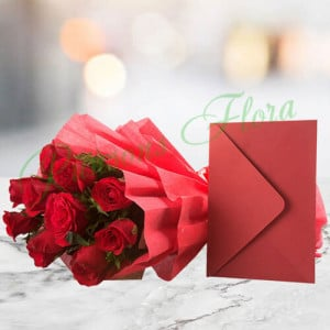 Bouquet N Greeting Card - online flowers delivery in dera bassi