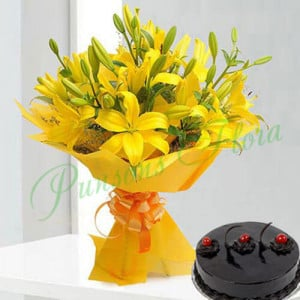 Bright Yellow Asiatic Lilies n Cake - Cake Delivery in Mumbai