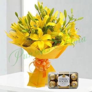 Bright Yellow Asiatic Lilies n Rocher - Wedding Anniversary Bouquet with Cake Delivery